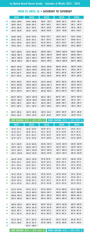 LQB Aruba Calendar of Weeks [2021-2025]